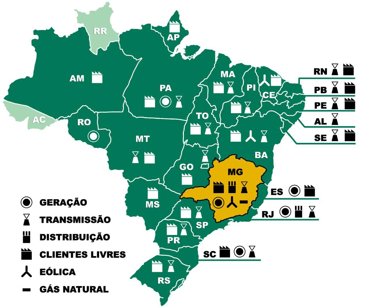 Mapa de atuação da Cemig